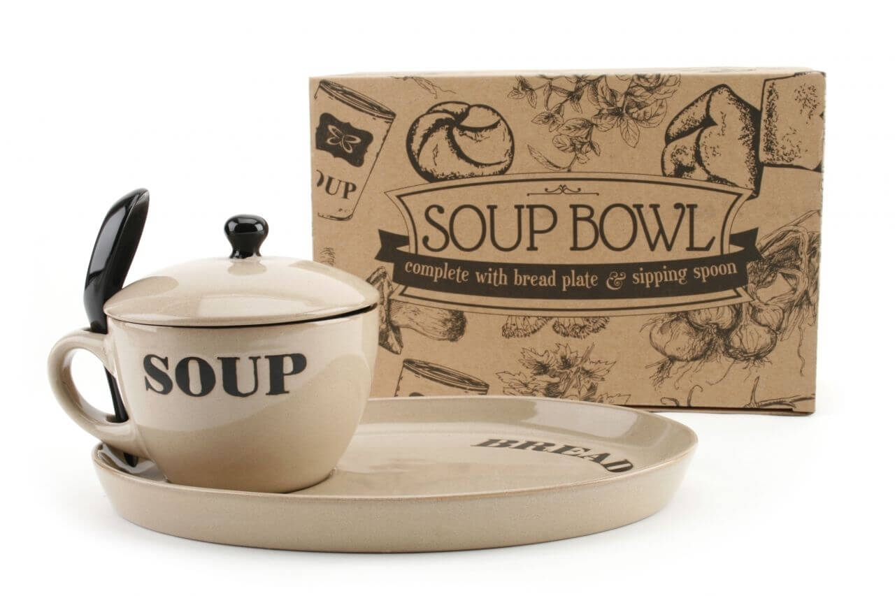 Beige Soup Bowl and Lid with Bread plate-min