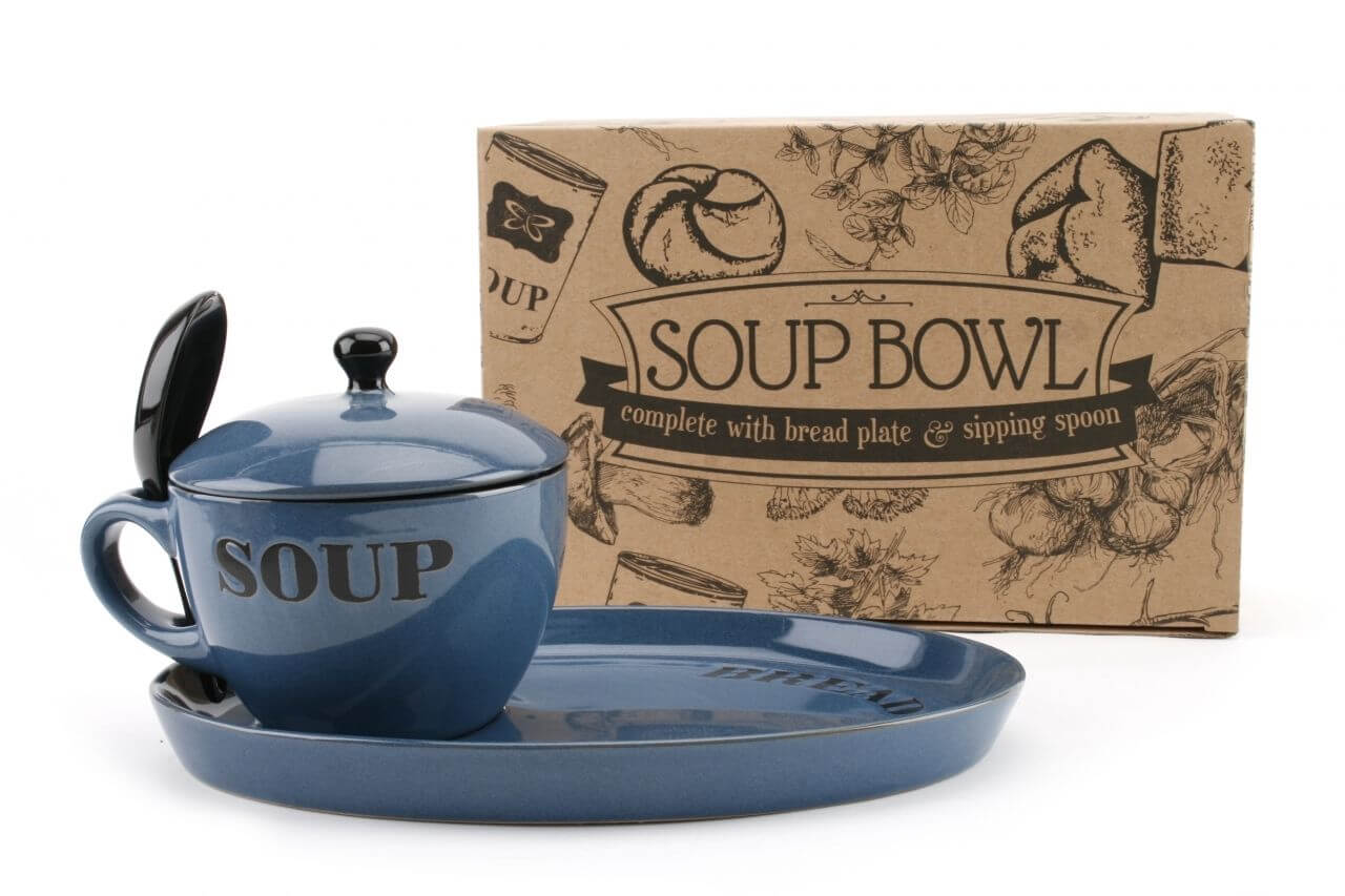 Blue Soup Bowl with Lid and bread plate-min