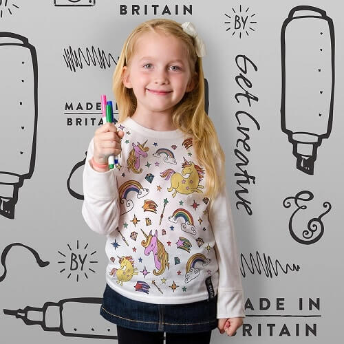 Childrens Colouring In Unicorn Top Done