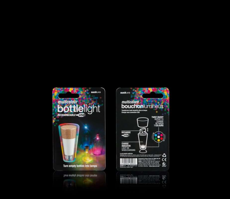 Rechargeable USB Multi Coloured Bottle Light