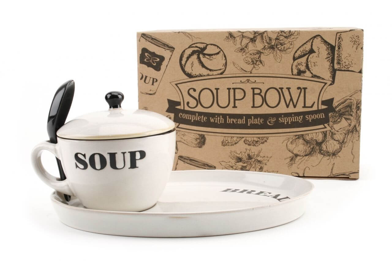 White Soup Bowl with Lid and Bread plate-min