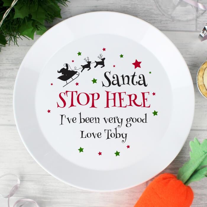 Personalised Santa Stop Here Plate