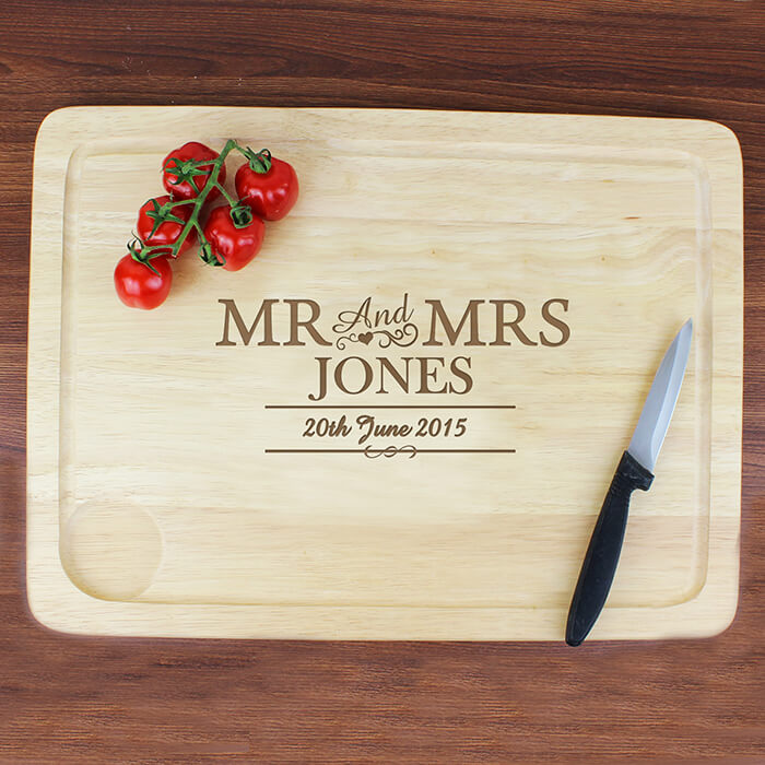 Personlised Mr and Mrs Chopping Board