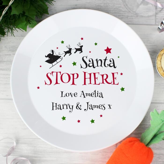 Santa Stop Here Personalise Snack Dish
