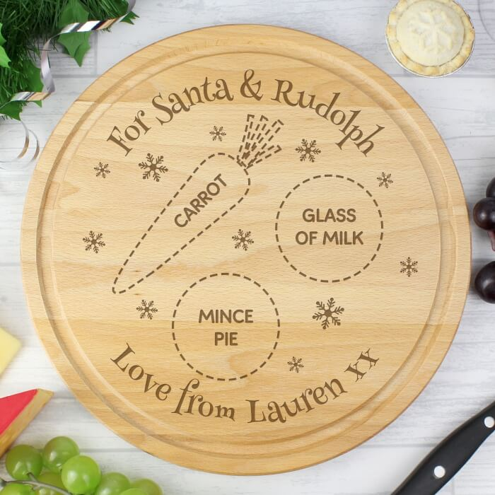 Santa and Rudolph Personalised board for snacks (1)