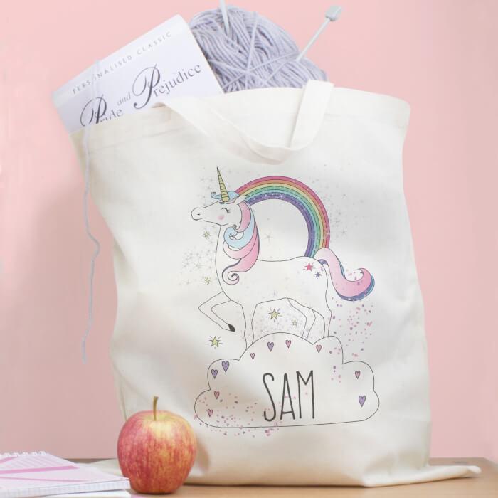 personalised Unicorn Fabric Bag