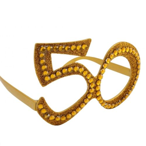 Gold-50th-Birthday-Novelty-Fun-Party-Clear-Vew-Sunglasses-Bling-Age-Glasses-351709653261