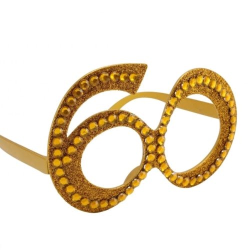 Gold-60th-Birthday-Novelty-Fun-Party-Clear-Vew-Sunglasses-Bling-Age-Glasses-351709654824