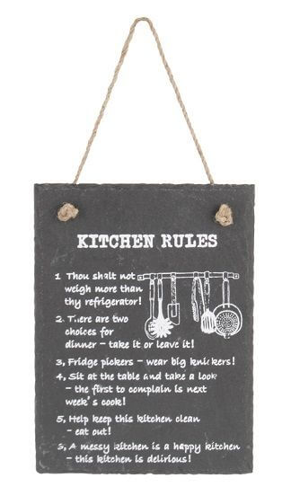 Slate Gray Kitchen Rules - Funny Quotes