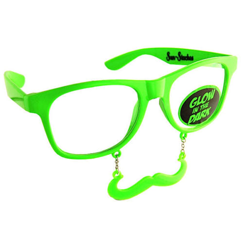 Glow-In-The-Dark-Wayfarer-Style-Clear-View-Moustache-Disco-Rave-Charm-Mustache-351372167485