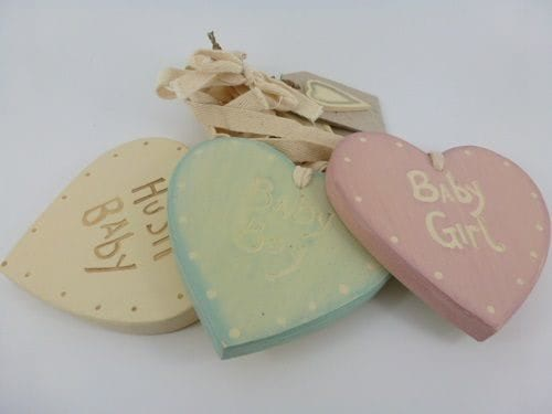 Chic-East-of-India-Vintage-Shabby-Hanging-Wall-Sign-Heart-Shaped-New-Baby-Gift-350982441646