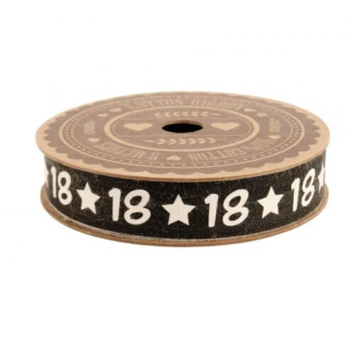 Black-18th-Cotton-Ribbon-Reel-5m-Metres-Roll-Number-Forty-Age-Birthday-Retro-391369996937